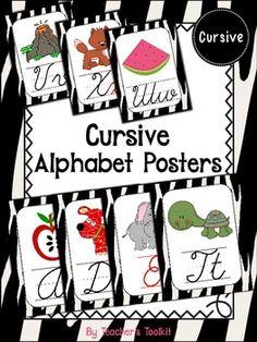 Zebra Themed Cursive Alphabet Posters