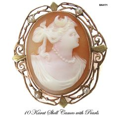 """Antique Edwardian Carnelian Shell Cameo Of """"Diana, The Greek Godess Of The Hunt"""" Set In A 10k Rose Gold And Seed Pearl Brooch"""