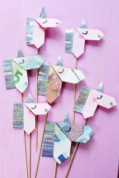 Geldscheine kreativ zu Origami Einhörnern falten – !!! Künstl. Wimpern ankleben !!!