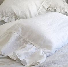 Ruffle linen pillowcase in pure linen fabric adds, a soft romantic vintage style to any room. Flax fiber is soft to the touch and becomes even softer with each washing. This vintage washed linen pillo