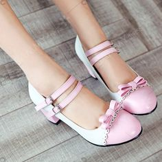 Japanese Sweet Lolita Shoes Round And Round With Color Of Students Coarse Heel Word Buckle Butterfly Knot Single Shoes Cheap Shoes For … Pretty Shoes, Beautiful Shoes, Cute Shoes, Me Too Shoes, Pink Shoes, Girls Shoes, Kawaii Shoes, Lolita Shoes, Chunky High Heels