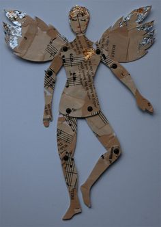 Art paper doll…collaged with vintage paper…really cool website - Paper Diy Paper Puppets, Paper Toys, Paper Art, Paper Crafts, Diy Paper, Paper Angel, Vintage Paper Dolls, Vintage Art, Antique Dolls