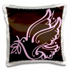 3dRose Sweet Dove of Peace Brown and Pink, Pillow Case, 16 by 16-inch
