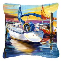 Caroline's Treasures Symmetry Sailboats Indoor/Outdoor Throw Pillow Size: H x W x D Floral Throw Pillows, Throw Pillow Sets, Outdoor Throw Pillows, Decorative Pillows, Outdoor Seating Areas, Pillow Forms, Perfect Pillow, Sailboats, Sailboat Art