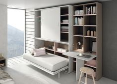 Space-Saving Furniture for tiny spaces Tiny House Furniture, Smart Furniture, Space Saving Furniture, Cama Murphy, Murphy Bed, Bed In Closet, Smart Bed, Convertible Furniture, System Furniture