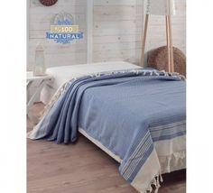 Cuvertura Natural Pique Diamond - Albastru Leh, Comforters, Blanket, Furniture, Home Decor, Diamond, Natural, Creature Comforts, Quilts