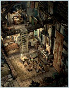 Final Fantasy IX Alexander Town art by Jake Rowell