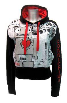 Newbreed Girl Konnichiwa Robot Hoody | Gothic Clothing | Emo clothing | Alternative clothing | Punk clothing - Chaotic Clothing