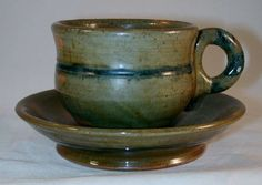 Rare 1938 Redware Cup and Saucer Mottled Green and Blue Glaze By Isaac Stahl of Powder Valley, Pennsylvania