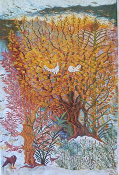 "Fawzi Moussa, Sunset, 1976, Ramses Wissa Wassef Tapestry, Egypt Weaving. Image from ""Das Land am Nil"" 1979 exhibition catalog by Roemer- und Pelizaeus-Museum, Hildesheim, Germany. Weaving Textiles, Tapestry Weaving, Tree Tapestry, Tree Of Life Art, Beads Direct, Weaving Projects, Egyptians, Art Forms, Textile Art"