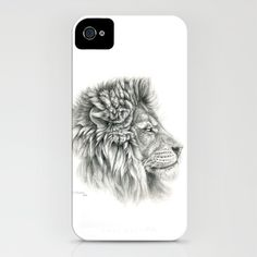 Lion - profile iPhone Case by S-Schukina - $35.00