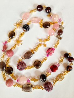 Pink Sapphire Statement Necklace Long Multi by PorcelainIndustry, $290.00