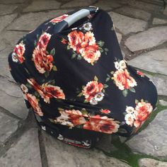 Stretchy Car Seat Cover (canopy) Doubles as Nursing Cover - Autumn/Fall Floral by solchanshop
