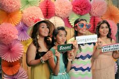 Polaroid Photo Booth Backdrop by Something Pretty Manila  Pompoms, Medallions, Paper Rosettes, and Honeycombs.