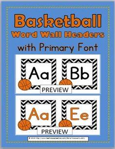 Basketball Word Wall Headers