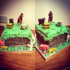 Minecraft cake Kokos Cupcakes, Minecraft Cake, Desserts, Food, Tailgate Desserts, Deserts, Essen, Postres, Meals