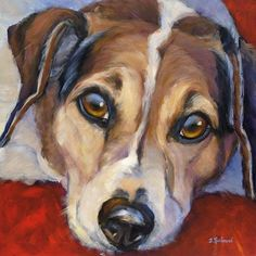 Jack Russell terrier original art in oil and acrylic www.DebbieRichmondArt.com