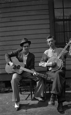 Wheelwright boys: two men with guitar and banjo. Floyd County, KY, 1930-1950. Jean Thomas, The Traipsin' Woman, Collection. Kentuckiana Digital Library.