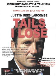 Justyn Rees Larcombe talk in Redbourn Village Hall 5th July 2018 Cafe Style, Losing Me