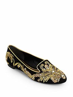 Alexander McQueen Embroidered Velvet Smoking Slippers