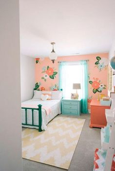 Girl's bedroom inspired by Rifle Paper Co. by Design Loves Detail (via House of Turquoise). Audrey's room with coral Girls Bedroom Furniture, 6 Year Old Girl Bedroom, Bedroom For Girls Kids, Teal Girls Bedrooms, Girls Home, Paint For Girls Room, Girl Bedroom Paint, Bedroom Decor For Kids, Curtains For Girls Bedroom
