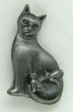 Mama Cat Kittens Figural Pin Earrings | eBay