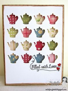 Teapot Window Card - Two Peas in a Bucket.  This would be cute with hearts or stars too.