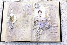 "Altered Book - Page 1 ""Josie"" created by scrapsofelegance.blogspot.com"