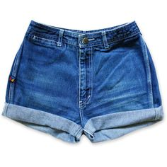Vintage 70s 80s Bonjour Dark Blue Wash High Waisted Rise Cut Offs... ($28) ❤ liked on Polyvore featuring shorts, bottoms, pants, high-waisted denim shorts, high waisted jean shorts, cut-off jean shorts, high-waisted shorts and high waisted shorts