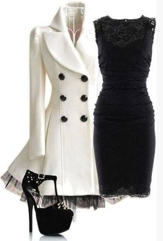 Outfit for night date, black lace evening dress and ivory peacoat
