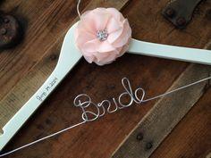 SALE Wedding Dress Hanger with Chiffon Rhinestone Flower - Blush Wedding, Bride Hanger, Personalized Name Hanger, Custom Bride Gift by DeighanDesign on Etsy https://www.etsy.com/listing/175424906/sale-wedding-dress-hanger-with-chiffon