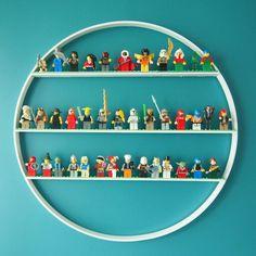 "18"" embroidery hoop + wood rulers + paint = shelves"