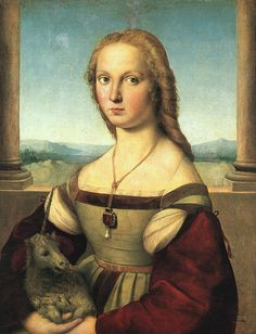 The woman with the unicorn by Raphael