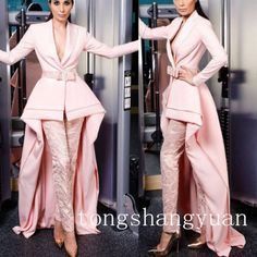 New-Pink-Long-Sleeve-Suits-Pants-Prom-Gown-High-Low-Evening-Wear-Cocktail-Dress