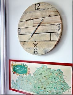 RUSTIC CLOCK.. perfectly simple and sweet! Instructions to make from reclaimed or pallet wood- fun and cheap project!