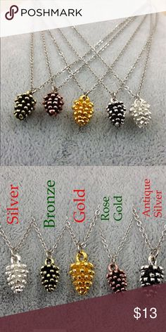Holiday Pinecone Necklace-- selling fast! ⭐️⭐️⭐️⭐️⭐️ 5 star rated!! Don't wait-- selling fast!! [rose gold sold out] Gorgeous holiday pinecone necklaces are approx 18 inches long with a 3 inch extender.  Want more than one? Ask for a custom bundle!   All Pineapple.PalmBeach jewelry and hair pins come packaged on crisp white packaging and tucked carefully into white chiffon pouches ready for you or a friend to enjoy!   Don't forget to shop my closet for a bundle discount! Pineapple.PalmBeach…