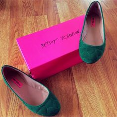 Emerald green Betsey Johnson flats size 7 Lovely little pair of emerald green flats with a quilted heart pattern  Very minimal wear, I had purchased these from another posher and they are a smidge too small  so I never got a chance to wear them. Size, fits true to size. Comes with the box. Please let me know if you have any questions! NO TRADES  Betsey Johnson Shoes Flats & Loafers
