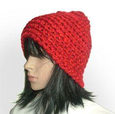 Red chunky Beanie #crochet beanie be Renate Kirkpatrick