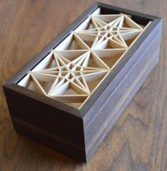 Two mitered boxes with Kumiko panels in the lids. The two patterns are Sakura (cherry blossom) and Kasane-rindo (star shape). The joinery was completed on the table saw and final fitting was performed with hand planes.