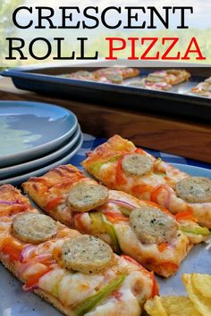 Crescent roll pizza. Delicious flaky and buttery crescent roll crust with yummy toppings. #OnePan #crescentrollpizza #pizza #crescentrolls #delish #pizzatime #pizzarecipe #easydinner #onepanmeal #easyrecipes #pizzalovers Feta Chicken, Yum Yum Chicken, Chicken Sausage, Garlic Chicken, Healthy Recipes On A Budget, Healthy Dinner Recipes, Pizza Recipes, Cooking Recipes, Homemade Crescent Rolls