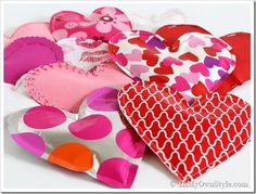 DIY paper candy-filled hearts
