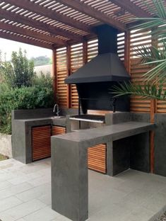 Stunning Outdoor Kitchen Ideas & Designs (With Pictures) For Stunning Outdoor Kitchen Ideas & Designs (With Pictures) For 201926 DIY Outdoor Grill Stations & Kitchens - Outdoor & Spaces - amp DIY Grillsta Backyard Kitchen, Outdoor Kitchen Design, Outdoor Kitchen Patio, Hot Tub Patio, Backyard Patio Designs, Backyard Landscaping, Pergola Patio, Patio Ideas, Cozy Backyard