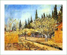 Orchard in Blossom, Bordered by Cypresses Vincent van Gogh Painting, Arles: April, 1888 Kröller-Müller Museum Otterlo, The Netherlands Arte Van Gogh, Van Gogh Art, Art Van, Rembrandt, Claude Monet, Vincent Van Gogh, Georges Seurat, Paul Gauguin, Desenhos Van Gogh