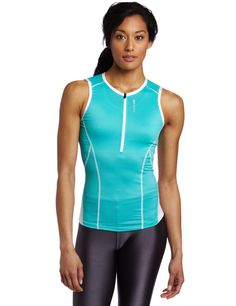 Sugoi Women's Blast Tri Tank. 10 inch front locking zip keeps tab in place1 elasticized back pocket expands easily Soft ESP Mesh independent inner bra with supportive stretch and breathability Brushed 1 1/2 inch moisture wicking support elastic.