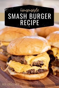 These Homemade Smashburgers are the ultimate juicy restaurant burger lovingly grilled in your own backyard. They're buttery, crispy, and made with good, simple ingredients. There's no need to spend a ton of dough in a burger joint when you can make your own amazing smashburgers at home! Grilled Burger Recipes, Best Burger Recipe, Grilling Recipes, Simple Beef Burger Recipe, Best Grilled Burgers, Grilled Beef, Grilling Tips, Smoker Recipes, How To Cook Burgers