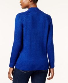 Karen Scott Petite Mock-Neck Cable-Knit Sweater, Created for Macy's - True Teal Marl P/XL