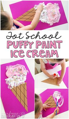 School: Ice Cream This puffy paint ice cream project is perfect for an ice cream theme in tot school, preschool, or the kindergarten classroom.THE THE may refer to: Ice Cream Crafts, Ice Cream Art, Ice Cream Theme, Summer Preschool Themes, Preschool Projects, Preschool Lessons, Kindergarten Crafts Summer, Preschool Food Crafts, Preschool Cooking Activities