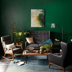 wandfarbe in grün farbideen wandgestaltung sessel sofa Mehr