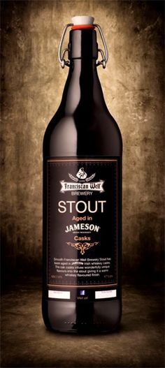 Franciscan Well's Jameson Stout is aged in Jameson whiskey barrels, another Irish favourite. Irish Beer, Irish Whiskey, Beer Brewing, Home Brewing, Bartenders Guide, Premium Beer, Whiskey Barrels, Beer 101, How To Make Beer