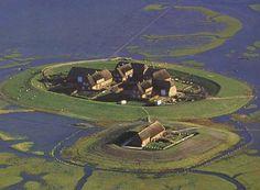 Warft (mound), Husum, National Park 'Hallig Hooge', Wadden Sea, North Friesland (DE)